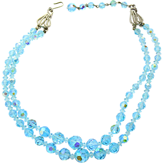 Vintage Aqua Blue AB Crystal Bead Two Strand Necklace