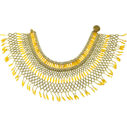 Vintage Hong Kong Beaded Yellow & Gold Collar Necklace