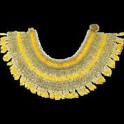 Vintage Hong Kong Beaded Yellow & Gold Collar Necklace