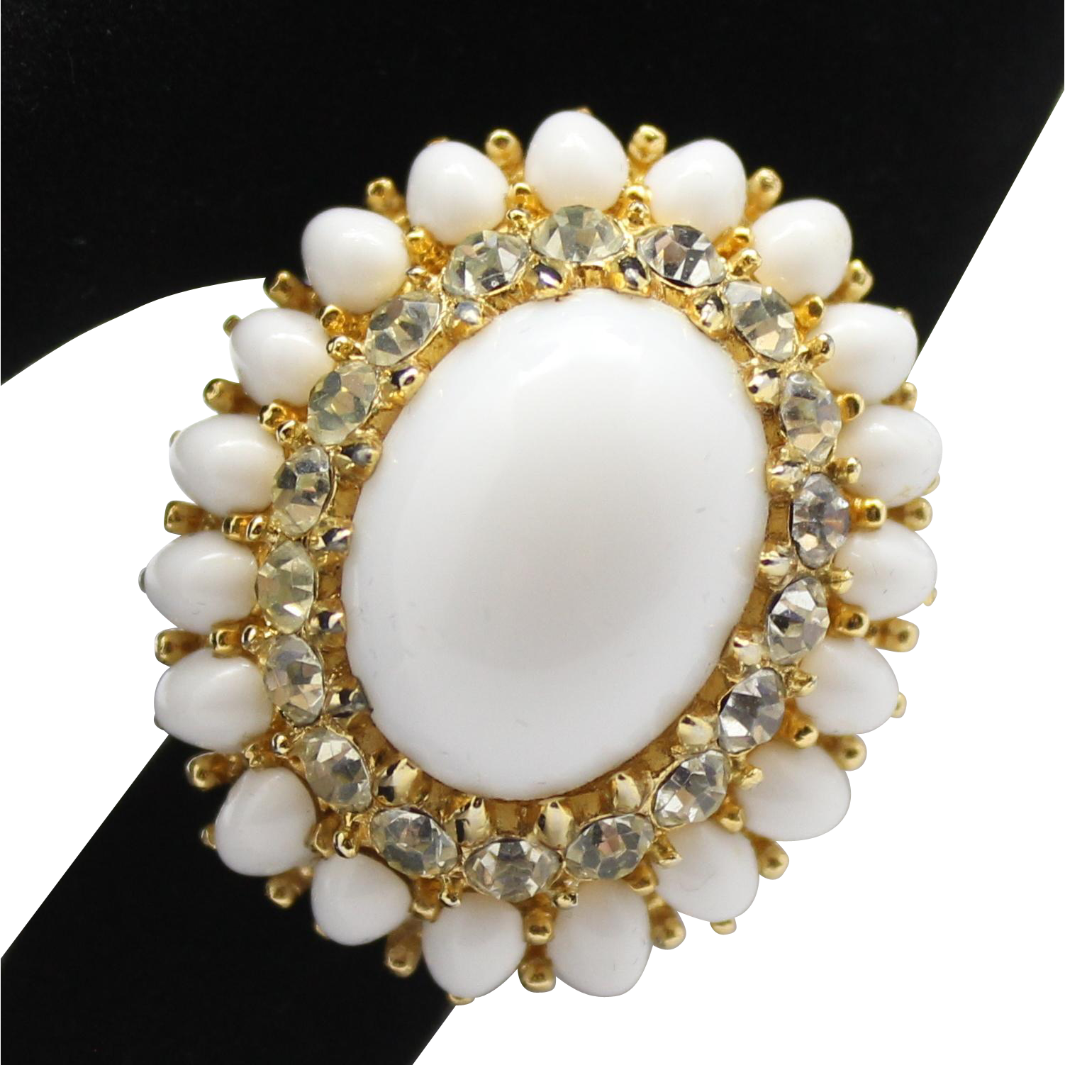 Vintage Jomaz White Cabochon & Clear Rhinestone Adjustable Cocktail Ring