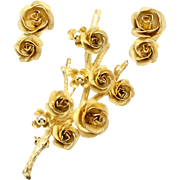Vintage Goldtoned Rose Demi Parure
