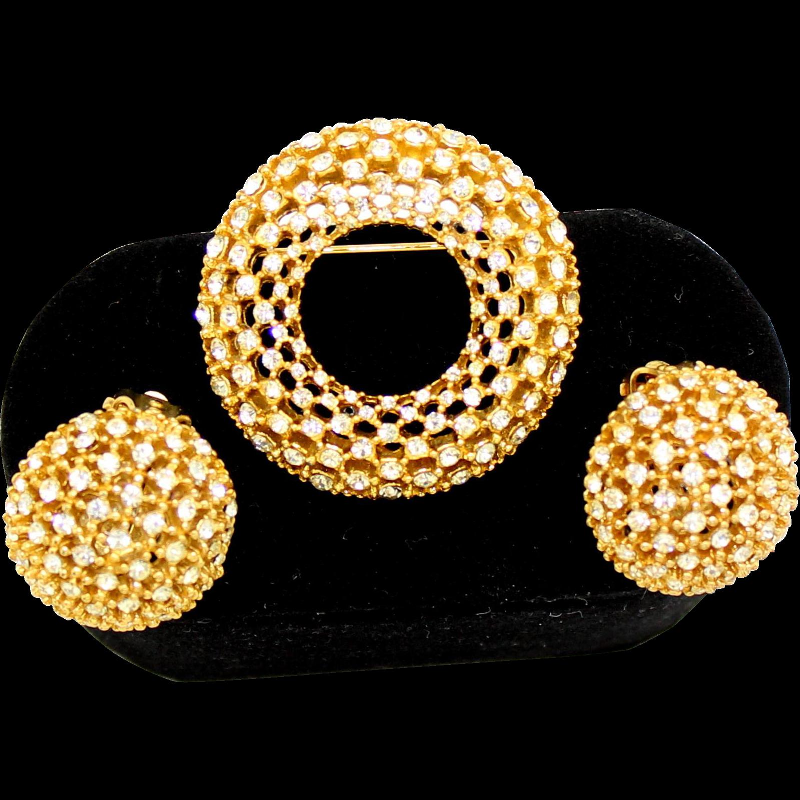 Vintage Clear Rhinestone Wreath Brooch and Earrings Demi Parure