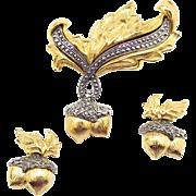 Vintage Avon Elegant Acorn Marcasite Demi Parure