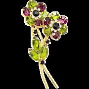 Vintage Juliana (D&E) Olivine Green & Purple Rhinestone Flower Spray Brooch
