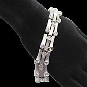 Vintage Crown Trifari Clear Rhinestone Silver Toned Branch Style Bracelet
