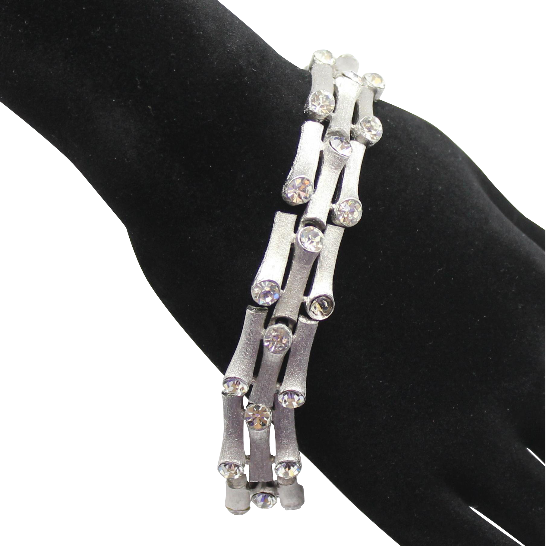 Vintage Crown Trifari Clear Rhinestone Silver Toned Branch Style Bracelet