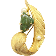 Vintage Lisner Jade & Faux Pearl Feather Brooch