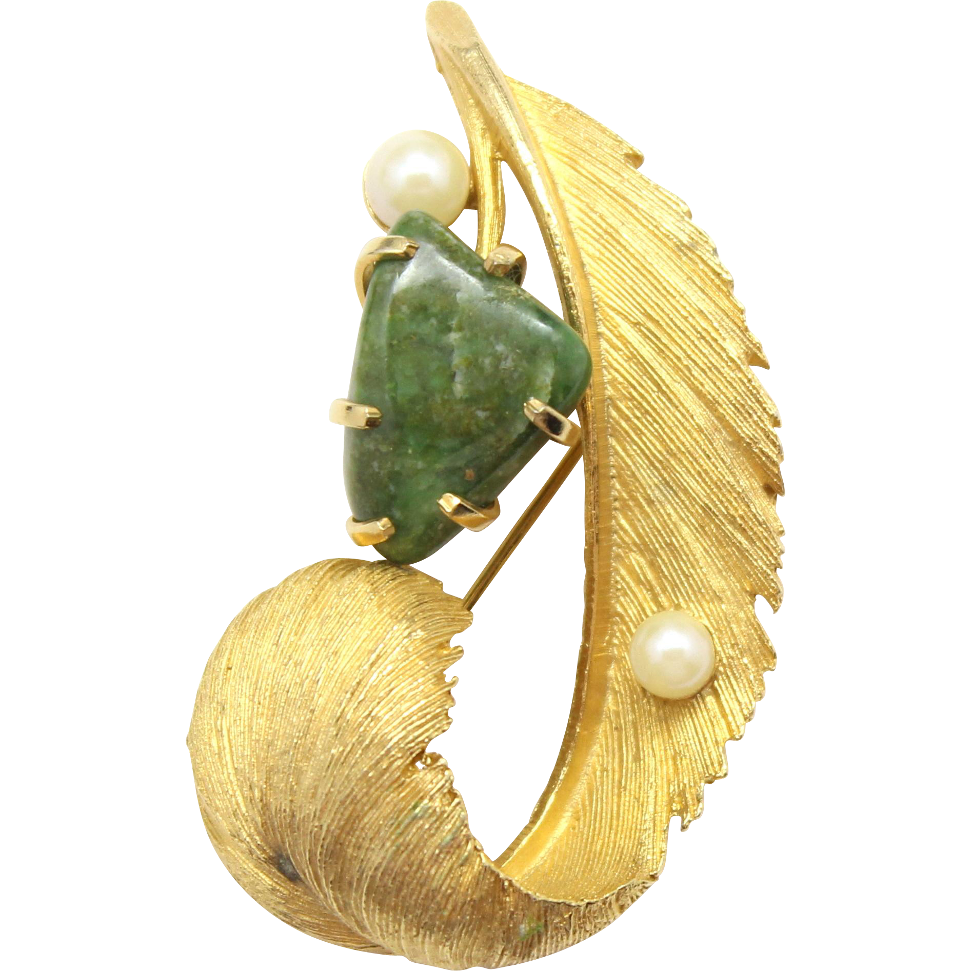 Vintage Lisner Jade & Faux Pearl Feather Brooch