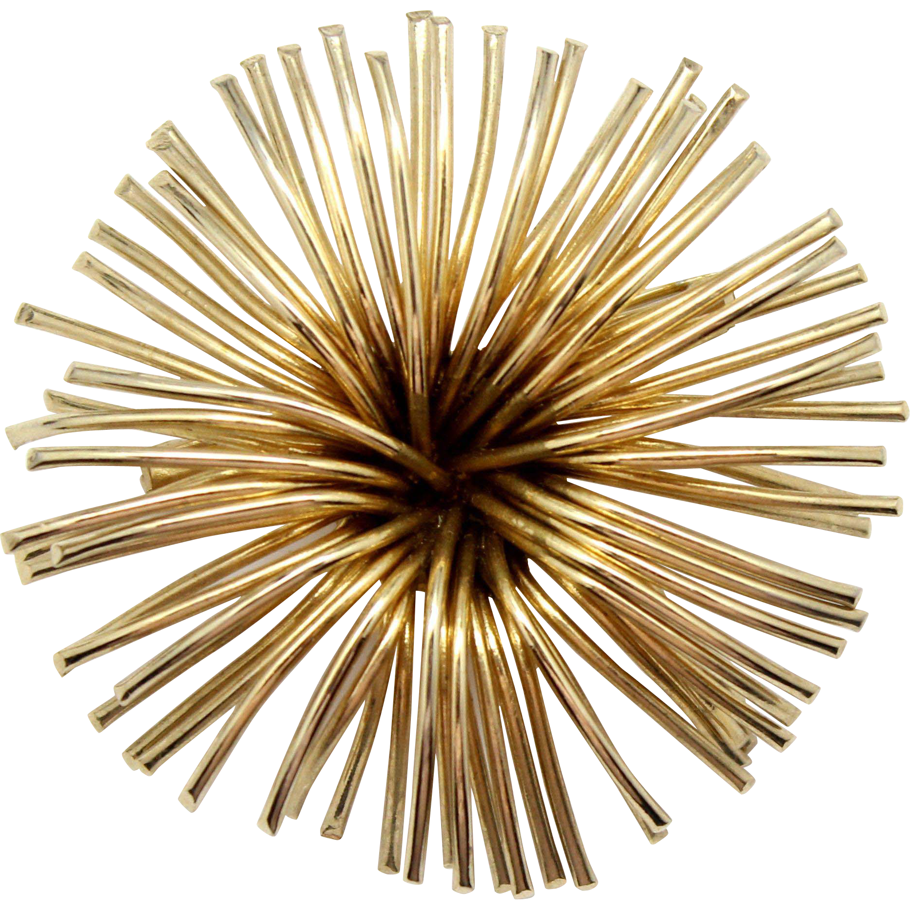 Vintage Spiky Sea Anemone or Atomic Gold Toned Wire Brooch