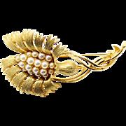 Vintage Lisner Pearl Flower Brooch