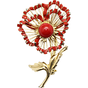 Vintage Brooks Red Enamel Wire Work Flower Brooch