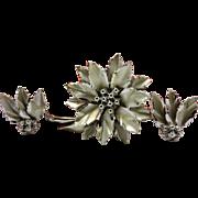 Vintage Coro Silver Toned Poinsettia Demi Parure