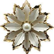Vintage Emmons White Enamel and Gold Tone poinsettia with faux pearl Brooch