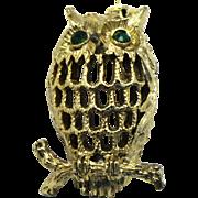 Vintage Gerry's Green Rhinestone Eyed Owl Brooch