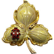 Vintage Beaujewels Enamel and Rhinestone Leaf with Ladybug Brooch