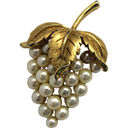 Vintage Trifari Faux Pearl Bunch of Grapes Brooch