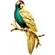 Vintage Avon 1995 Enamel and Rhinestone Tropical Bird, Parrot Brooch