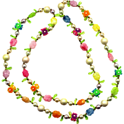 Vintage Pastel Flowers, Faux Pearl and Plastic Beads 38 Inches long Necklace