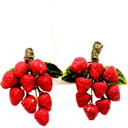 Vintage Lacquered Sugared Red Berry Fruit with enamel leaves Earrings