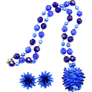 Vintage Hong Kong Bright Blue Plastic Bead Demi Parure Necklace and Earrings
