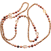 Vintage Peachy, Taupie Mauve Czech Druk Bead Rope Length Necklace