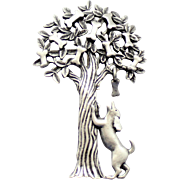 Vintage JJ Jonette Pewter Tree Dog Bone Brooch