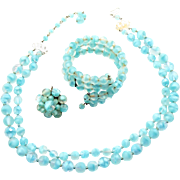 Vintage West Germany Aqua Satin Givre Glass Bead Memory Wire Bracelet Necklace Demi Parure