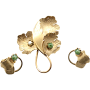 Vintage Coro Jade and Faux Pearl Leaf Brooch and Earings Demi Parure