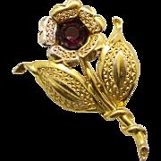 Vintage Large Amethyst Rhinestone and Metalwork Flower Brooch
