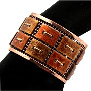 Vintage Matisse Renoir Copper with Enamel Tapestry Design Cuff Bracelet
