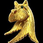 Vintage LG Ling-Gal Rhinestone Terrier Dog Brooch