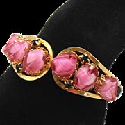 Vintage Pink Givre Black Rhinestone Clamper Bracelet