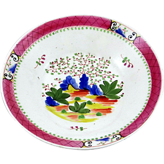 c. 1840 Brightly Colored Hand Painted English Plate Unmarked