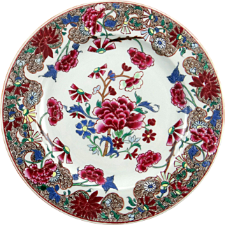 c. 1750 Chinese Export Porcelain Famille Rose plate with iron red/ brown border and detailed floral decoration