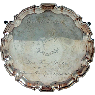English Sterling Silver Arab Horse Society Trophy in the Form of a Salver or Tray dated 1991