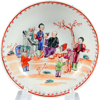 c. 1800 Chinese Export saucer with children as is