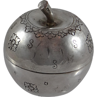 Cambodian Silver Box in the Shape of an Apple marked T900