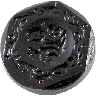 c. 1880 Hexagonal Black Glass Molded Button with floral design