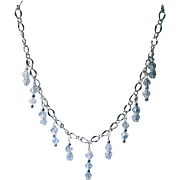 Bright Silvertone Chain With Blue Crackle Bicone Dangle Beads & Earrings