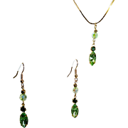 24kt. Gold Plated Chain, Swarovski Peridot Marquise Pendant & Earring Set