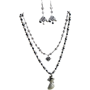 Pewter Peacock Two Strand Necklace & Earrings