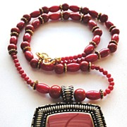 Red Bamboo Coral Beads Pendant Necklace and Earrings Set