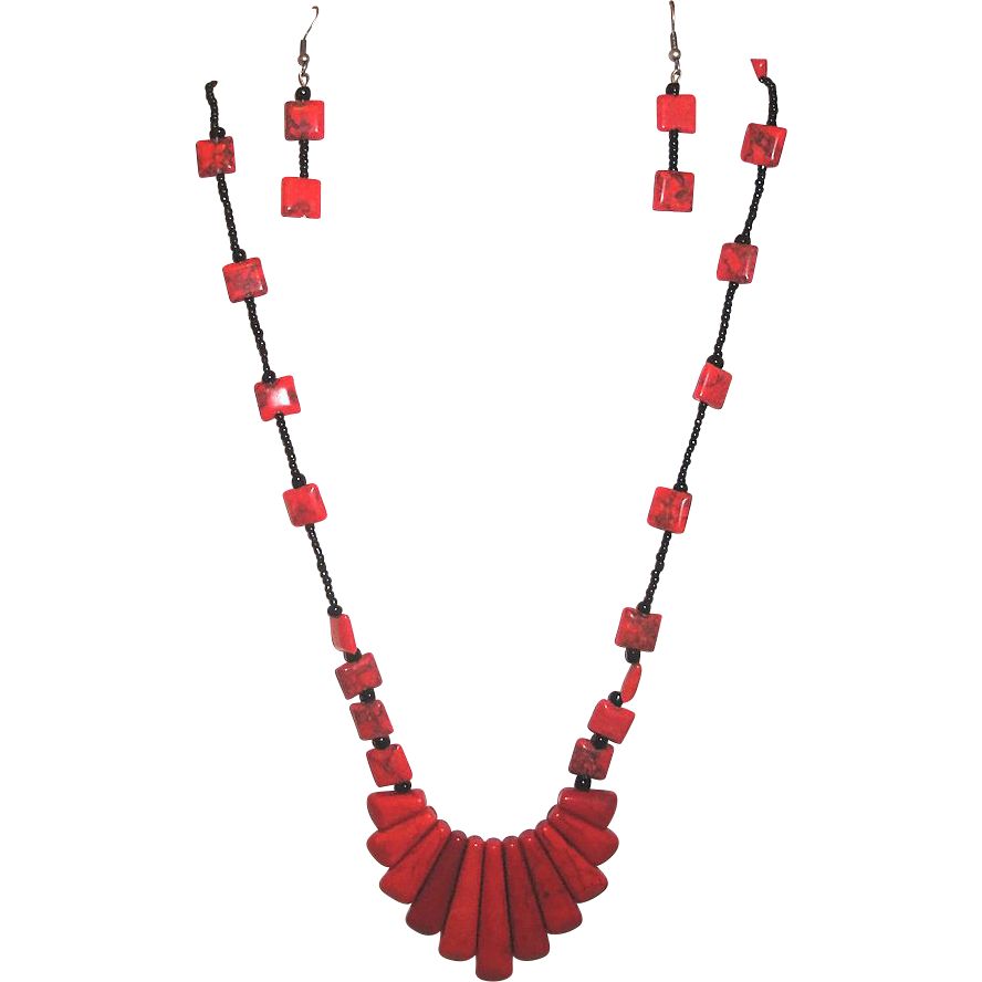 Red With Black Howlite Turquoise Gemstone Bib Necklace and Earrings Set