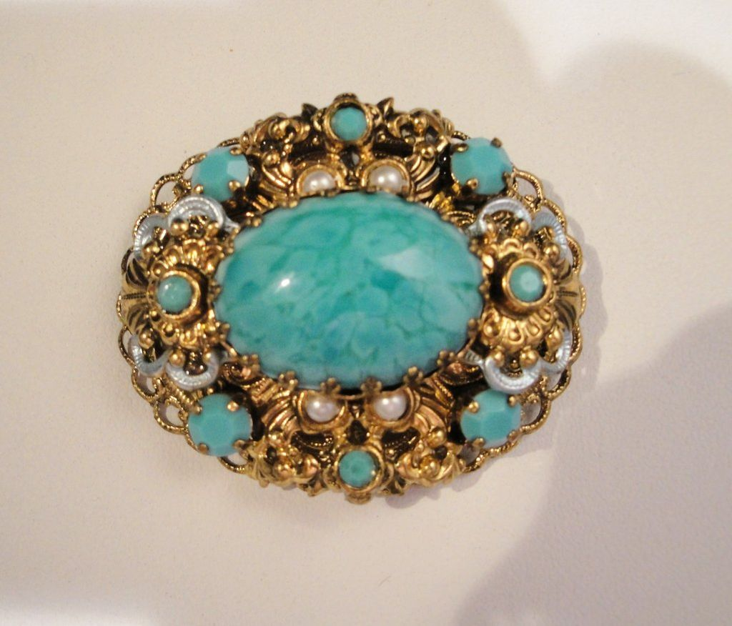 Vintage Faux Turquoise Brooch Imitation Pearls Silver