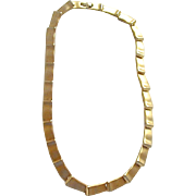 Vintage Gold Plated Satin Link Chain Necklace
