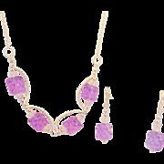 Lampwork Color Shifting Lavender and Blue Necklace Set