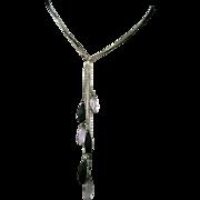 Six Black Metal Chains With Glass Beads Choker.