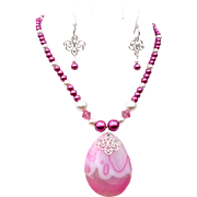 Pink And White Glass Pearls With TearDrop Pendant And Matching Earrings