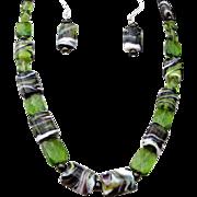 Emerald Green Lampwork Puffed Pillow Necklace Set
