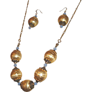 Unique Brushed Satin Gold Plated Beads On A 6 LInk Figaro Chain Necklace Set